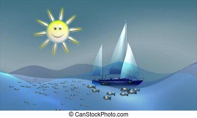 Sailboat on the sunny seas