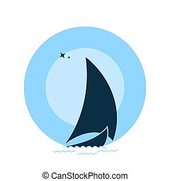 Sailboat on the waves against the backdrop of the moon. - ...