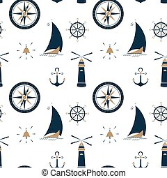 Sailboat on the waves, beacon, anchor, steering wheel and sea compass seamless pattern.