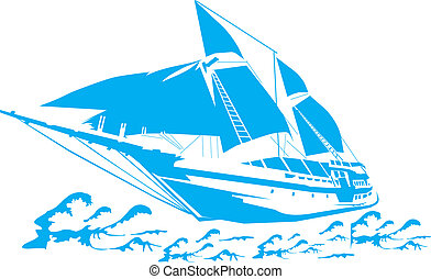 Sailboat on the waves. - Silhouette of a sailboat on the ...