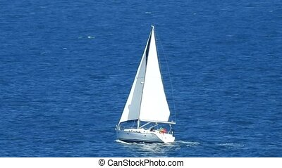 Sailboat Or Yacht On Ocean