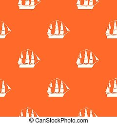 Sailboat pattern vector orange for any web design best
