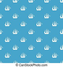 Sailboat pattern vector seamless blue repeat for any use