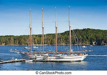 Sailboat - Old schooner at dock waiting to set sail in Bar...