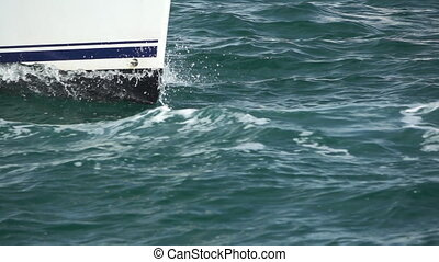Sailboat prow sailing closeup in super slow motion - Super...