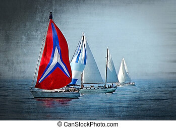 sailboat race - Row of sailboats in a race with grungy ...