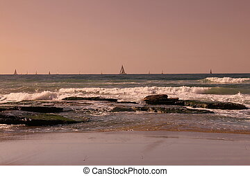 Sailboat racing in the winter