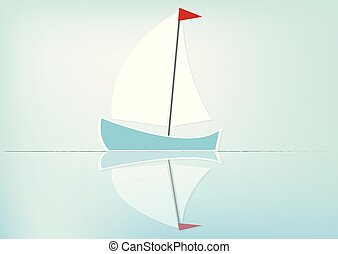 Sailboat reflected in the water