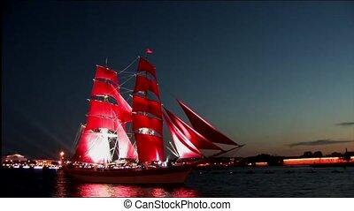 Sailboat sailing along the waterfro