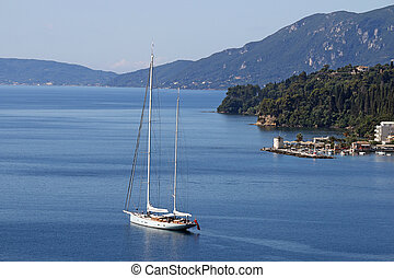sailboat sailing Corfu island Greece