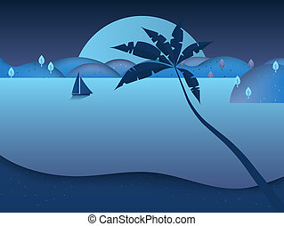 Sailboat sailing in the sea at night with beautiful full moon and mountains scenery landscape, blue tone