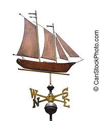Sailboat (Schooner) Weather Vane Isolated on White