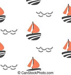 Sailboat seamless kid vector pattern in scandinavian style.