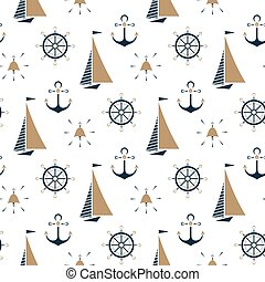 Sailboat , ship bell, nautical anchor, steering wheel seamless pattern.
