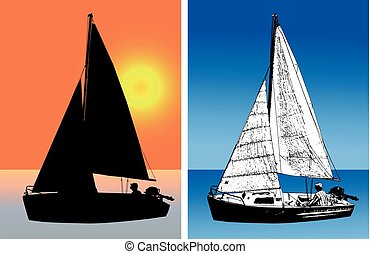 sailboat silhouette and sketch illustration