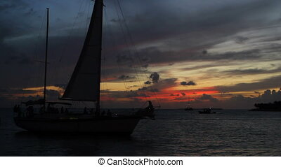Sailboat Silhouette Key West Sunset - Sailboat in silhouette...