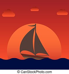 sailboat silhouette over sunset