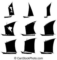 Sailboat Silhouettes Set