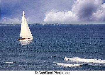 Sailboat in ocean