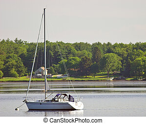 sailboat on tidal river