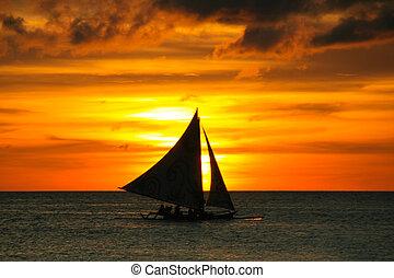 sailboat, sunset.