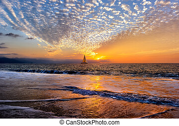 Sailboat Sunset Sailing