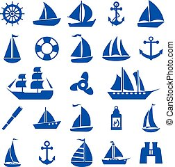 Sailboat symbol set.