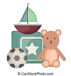 sailboat toy with block and toys square frame and birthday elements vector illustraitor