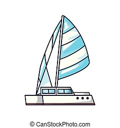 sailboat transportation travel isolated icon
