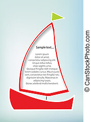 Sailboat - Illustration of red sailboat with copy space,...