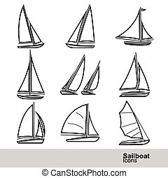 Sailboat vector - sailboat line icon set ,vector...