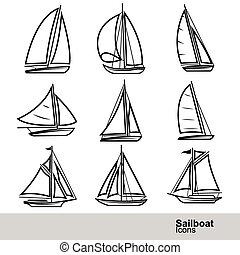 Sailboat vector - sailboat line icon set ,vector...