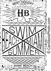 sailboat, velejando, cartaz, projeto abstrato, fundo, template., mar, sunset.