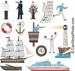 Sailboat Vessel Attributes Icons Set - Old-fashioned sailing...