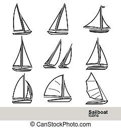 sailboat, vetorial