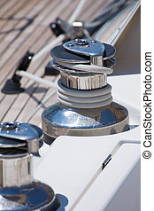 Sailboat winch and rope detail