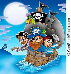 Sailboat with cartoon pirates at night - color illustration.