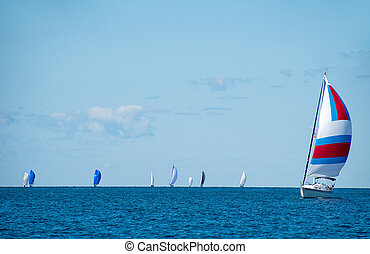 sailboat with spinnakers on Lake Michigan