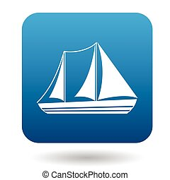 Sailboat with two masts icon, flat style