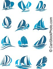 Sailboat, yacht and sailing ship with wave icon
