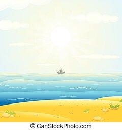 sailboats , περίγραμμα , με , ηλιόλουστος , θάλασσα , φόντο