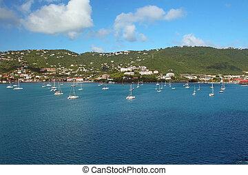 Sailboats anchored in St. Thomas