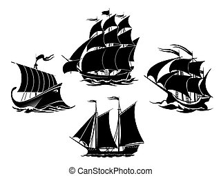 Sailboats and sailing ships black silhouettes. Schooner and frigate and galleon. Vector illustration
