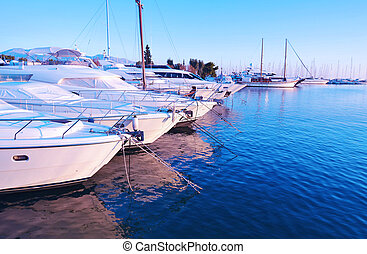 sailboats at Alimos harbor Attica Greece - blue hour...