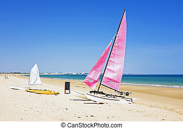 Sailboats at the beach in Portugal