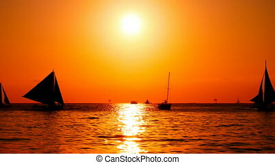 Sailboats cruising at sunset