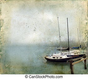 Sailboats Docked in a Foggy Harbor on Grunge Background -...