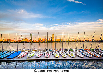 Sailboats docked in the Charles River in Cambridge, Massachusetts.