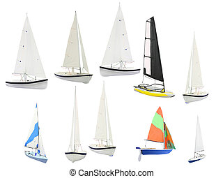 sailboats under the white background