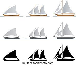 Sailboats - Nine sailboats isolated on white background